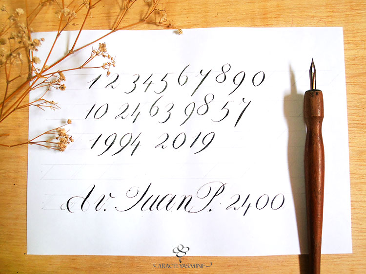 caligrafia copperplate numeros escribir plumilla