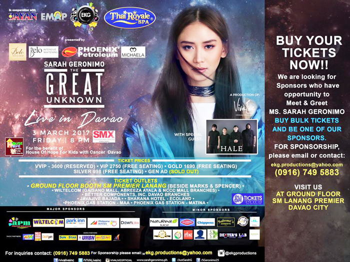 SARAH GERONIMO The Great Unknown CONCERT LIVE in DAVAO CITY