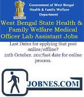 West Bengal State Health & Family Welfare Department Recruitment 2017 for various posts  apply online here