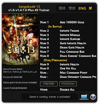Sangokushi.13.(Romance.of.the.Three.Kingdoms.13).v1.0-v1.0.7.0.Plus.49.Trainer