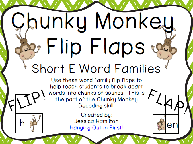 http://www.teacherspayteachers.com/Product/Chunky-Monkey-Flip-Flaps-Short-E-Word-Families-1113264