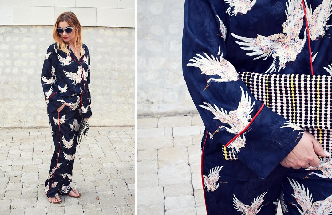 Outfit mit Pyjama Anzug, schwarz weiß