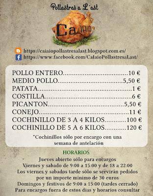 Nuevas tarifas de precios de Pollastres a L'ast Ca Iaio