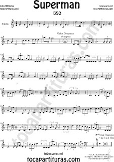 Flauta Travesera, flauta dulce y flauta de pico Partitura de Superman Sheet Music for Flute and Recorder Music Scores