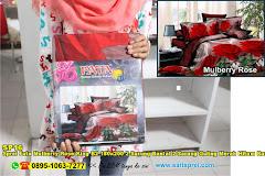 Sprei Fata Mulberry Rose King B2 180×200 2 Sarung Bantal 2 Sarung Guling Merah Hitam Bunga Dewasa Poly TC
