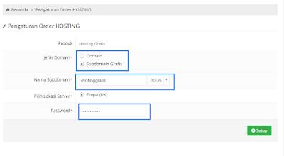 Form mendaftar domain gratis IdHostinger