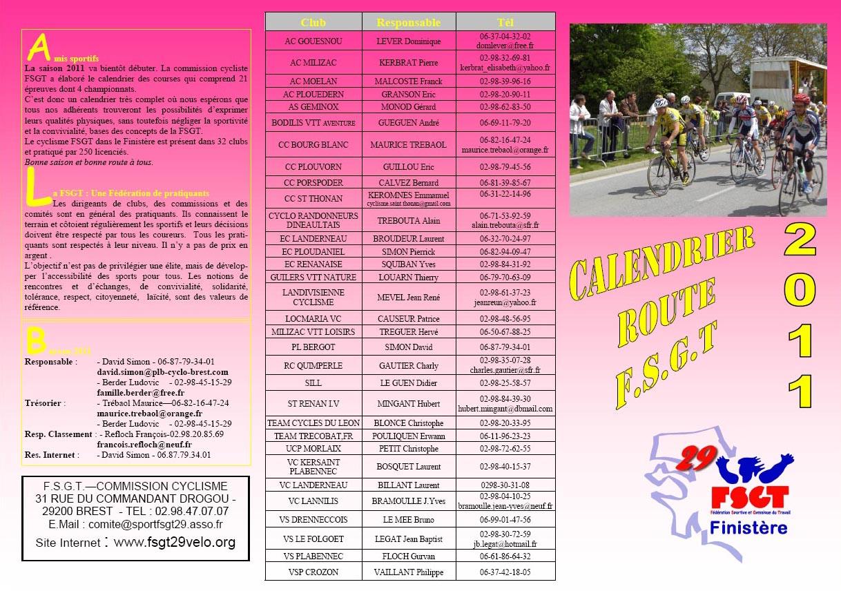 Calendrier Fsgt Cyclisme 2019.Club Cycliste Bourg Blanc Ffc Fsgt Calendrier Des