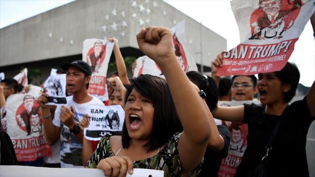 Siguen protestas en Filipinas contra la visita de Trump