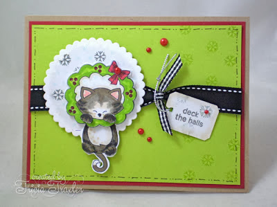 Kitty Christmas card by Tricia Traxler using Newton's Nook Designs Stamps