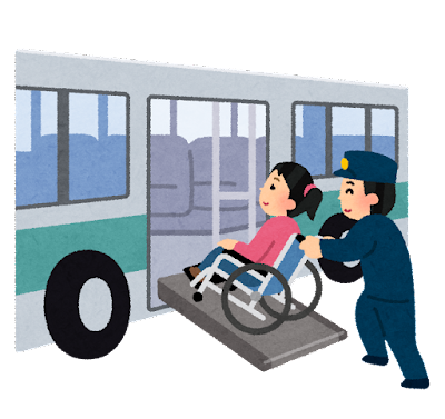 バスに乗る車椅子の人のイラスト