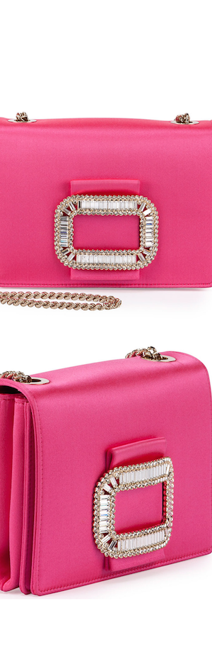 Roger Vivier Tiffany Silk Micro-Chain Shoulder Bag, Bubble Gum