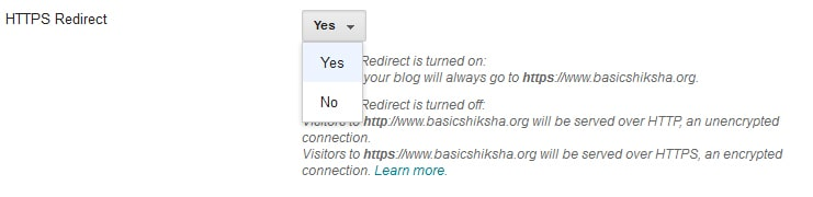 HTTPS redirect in blogger