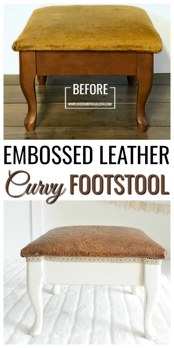 Curvy Embossed Leather Footstool Before and After