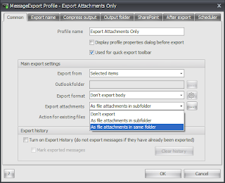 MessageExport add-on common settings tab.