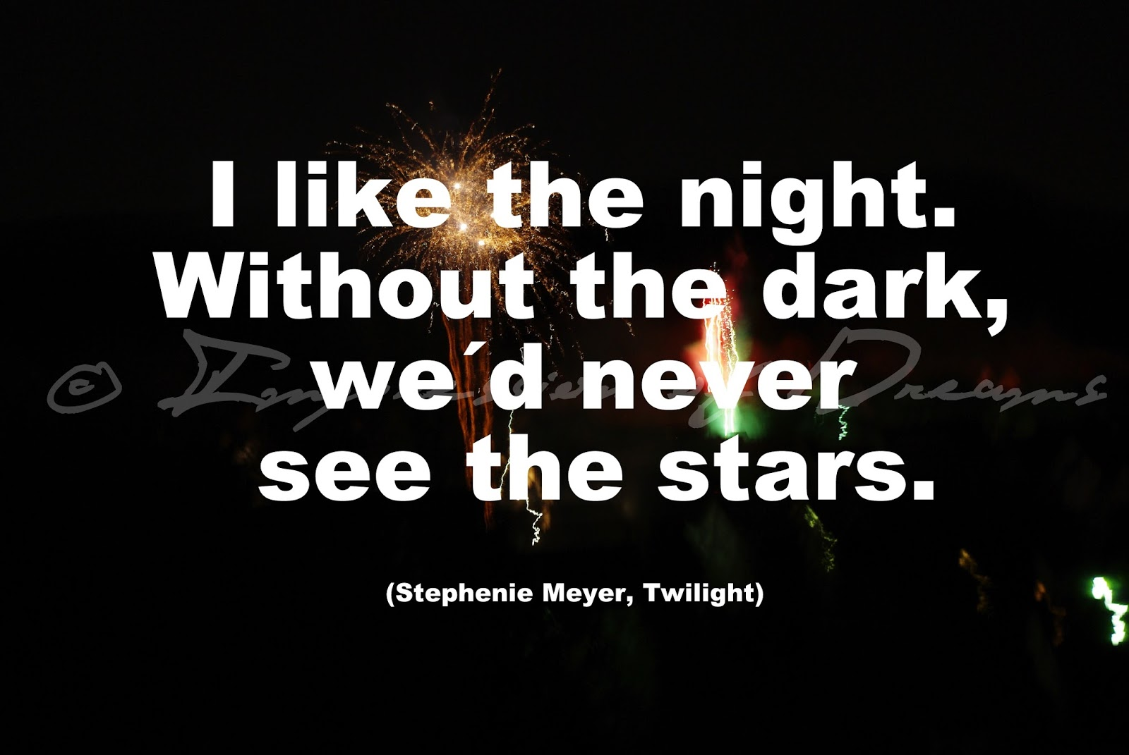 I like the night. Without the dark, we´d never see the stars