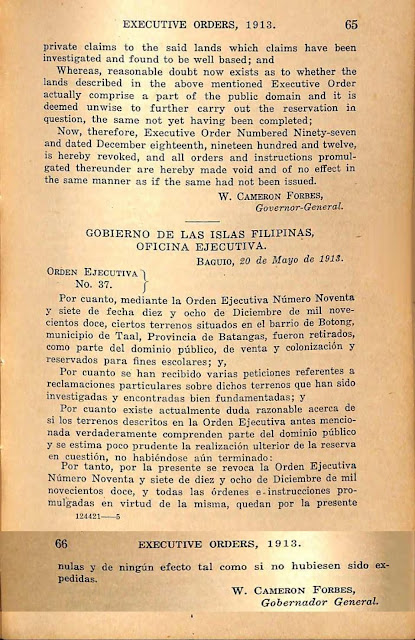 Executive order No. 37 series of 1913, Spanish version.