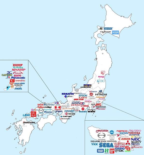 Mapa de las principales empresas en Japón