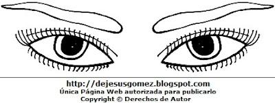 Dibujos de ojos de una mujer para colorear o pintar. Dibujo de ojos hecho por Jesus Gómez
