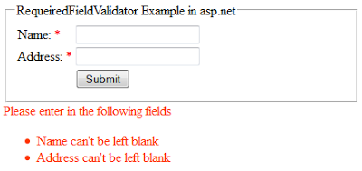 RequiredFieldValidator validation control example in asp.net