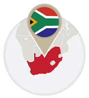 South African flag and map