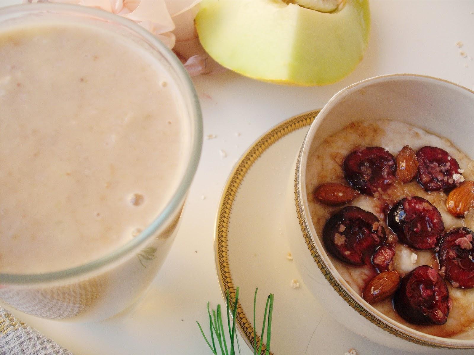 Vegan breakfast, smoothie πεπόνι, βρώμη και γάλα καρύδας