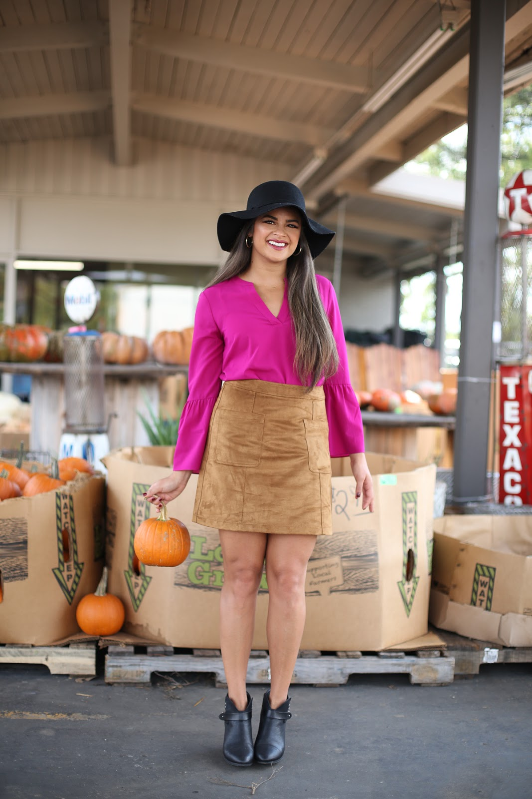 Priya the Blog, Nashville fashion blog, Nashville fashion blogger, Nashville style blog, Fall fashion, pumpkin patch outfit, what to wear to a pumpkin patch, floppy hat outfit, Rag & Bone Harrow booties, suede miniskirt, how to wear a suede miniskirt, Bell sleeve blouse, Rag & Bone, festive Fall outfit