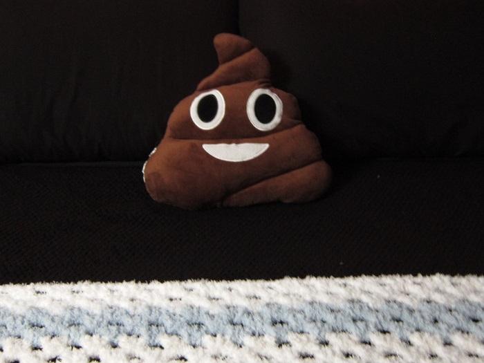 crochet, blanket, Bernat Pipsqueak, poo emoji