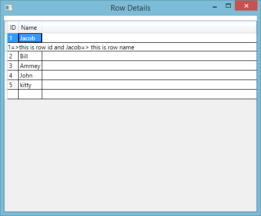WPF: Show Each row details in DataGrid when we click on rows