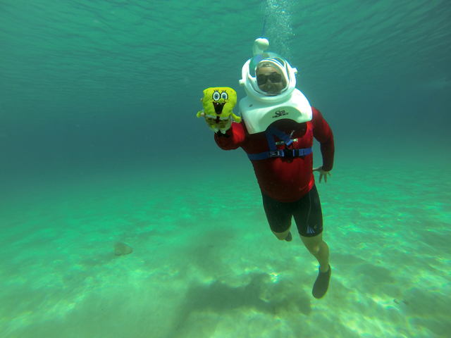Jose Luis Owner of Native Diving Lanzarote Sea TREK with Sponge Bob