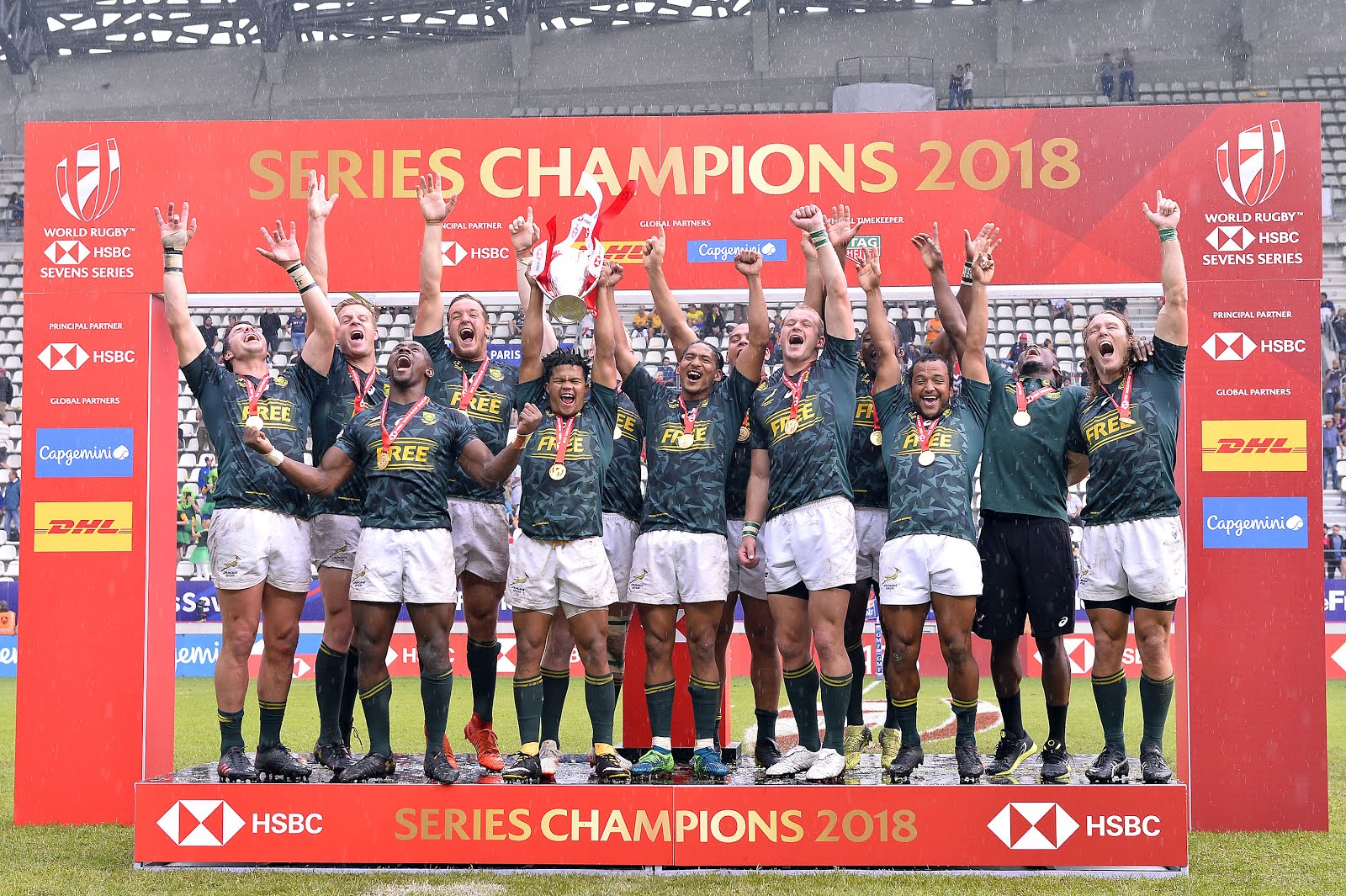 South African Sevens team winning the HSBC World Sevens Series in 2018