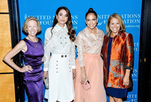 Queen Rania of Jordan, Jennifer Lopez and Kathy Calvin, Katie Couric, President and CEO, UN Foundation attend the UN Foundation's Gender Equality Discussion
