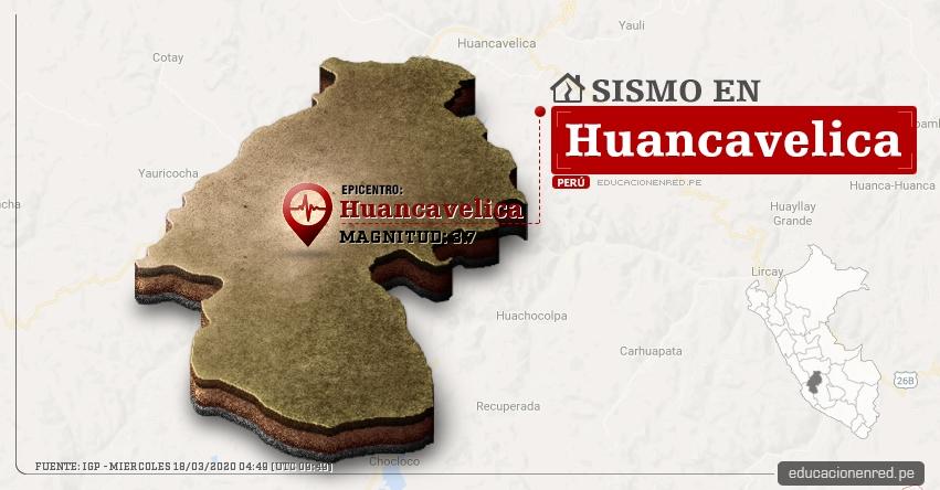 Temblor en Huancavelica de Magnitud 3.7 (Hoy Miércoles 18 Marzo 2020) Sismo - Epicentro - Huancavelica - IGP - www.igp.gob.pe