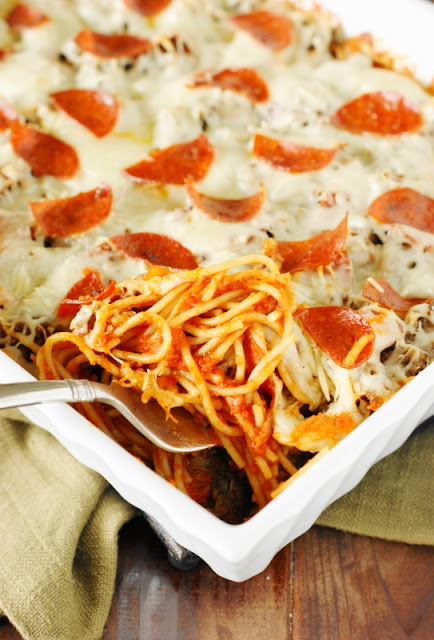 Weekend Potluck Recipes - Pizza Spaghetti Bake served in a casserole dish