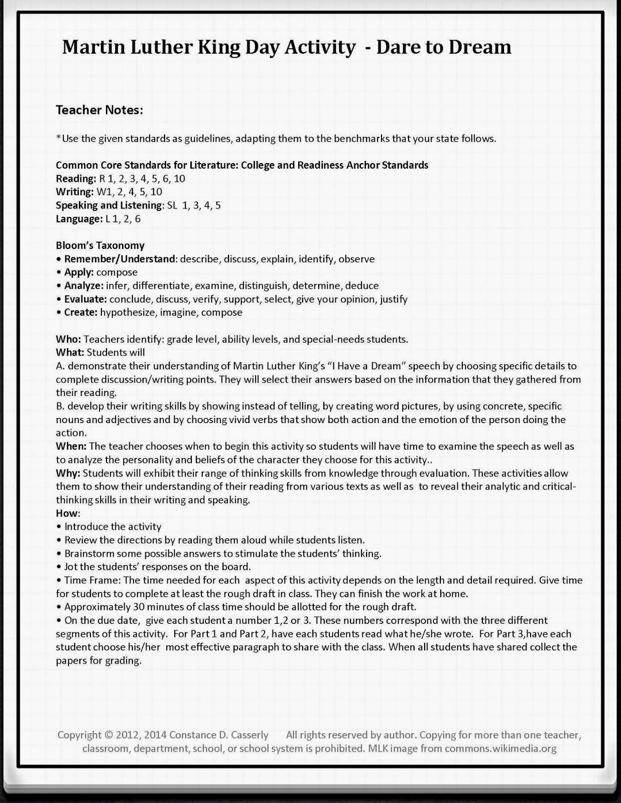 Teach It Write English Language Arts Martin Luther