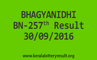 BHAGYANIDHI BN 257 Lottery Results 30-9-2016