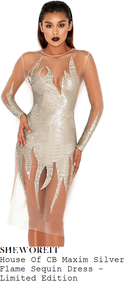 chloe-sims-house-of-cb-maxim-limited-edition-silver-and-nude-sheer-tulle-mesh-sequin-embellished-flame-applique-detail-long-sleeve-knee-length-bodycon-dress