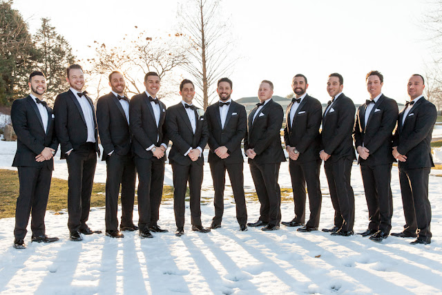 Groomsmen outside in the snow for Jenna and Chad's Willow Ridge Country Club Wedding | Karen Hill Photography