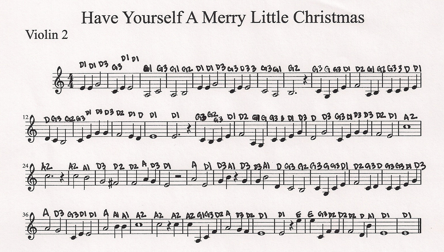 Have Yourself A Merry Little Christmas Violin Sheet Music.Vineyard Violins Have Yourself A Merry Little Christmas