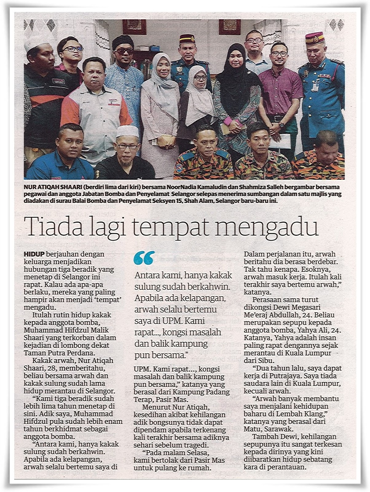 Rencana ; Reda pemergian suami - Keratan akhbar Utusan Malaysia 3 November 2018