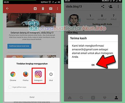 buat akun instagram lewat hp verifikasi email