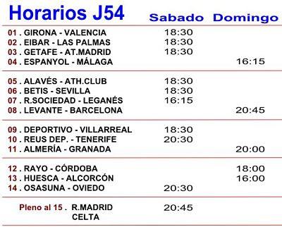 Horarios de los partidos de futbol de la Jornada numero 54 de la quiniela