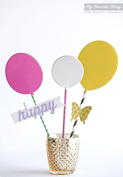 Handmade birthday centerpiece from Keisha Campbell featuring Happy Duo and Balloon STAX Die-namics #mftstamps
