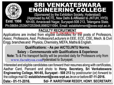 Sri Venkateswara Engineering College Suryapet Wanted