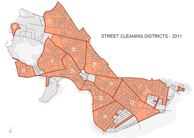 Mapa de los Distritos de Street Cleaning de Cambridge