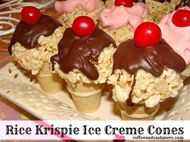 Coffee and Cashmere: Rice Krispie Ice Cream Cones