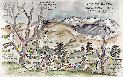 Dharamsala sketch by Candace Rose Rardon
