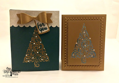 Our Daily Bread Designs Custom Dies: Flourished Tree Inset, Card Caddy & Gift Bag, Gift Bag Handles and Toppers, Holiday Words, A Gift For You, Medium Bow, Pierced Rectangles, Lavish Layers, Paper Collection: Retro Christmas
