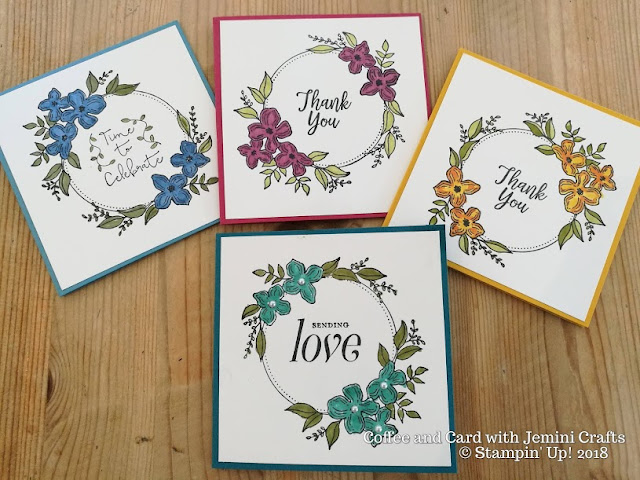 Floral frames used at coffee and card with Jemini Crafts