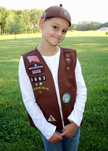 Tessa sporting her new Brownie vest and beanie before heading out for our first meeting of the year. (Technically, it was our troop's second meeting, but Tessa was sick for the first.)