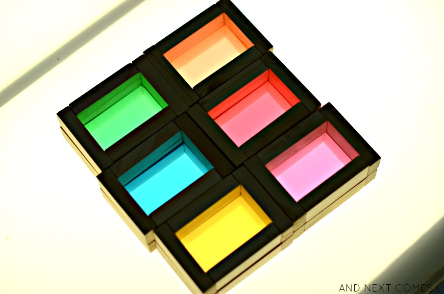 DIY color blocks made with dollar store items from And Next Comes L